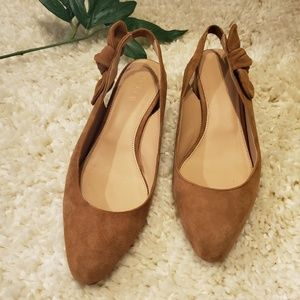 J Crew Suede Bow Slingback Mules